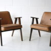 Pair 1960s Tan Leather 366 Armchairs by Józef Chierowski 4
