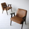 Pair 1960s Tan Leather 366 Armchairs by Józef Chierowski 5