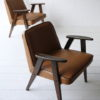 Pair 1960s Tan Leather 366 Armchairs by Józef Chierowski 6