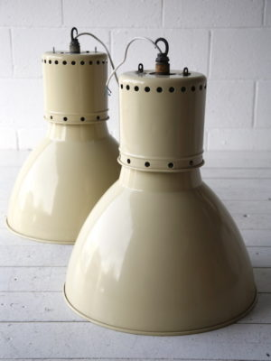 Pair of Large Industrial Ceiling Lights