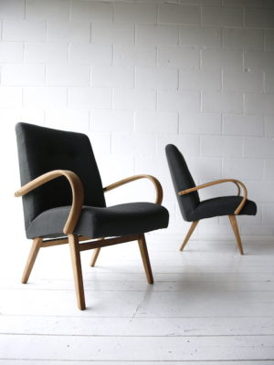 Vintage Beech Armchairs by Jindrich Halabala 5