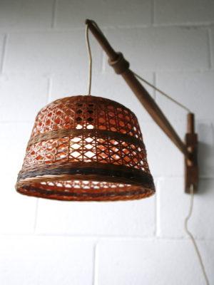Vintage Oak & Wicker Wall Light 3