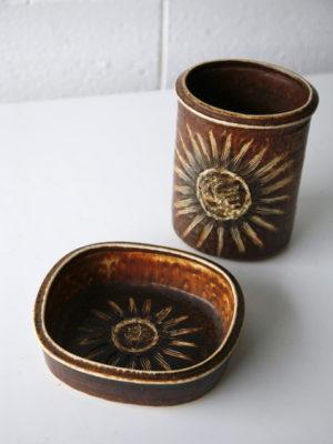 Vintage Sunflower Ceramics by Einar Johansen for Soholm 1