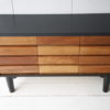 Vintage Teak & Black Chest Drawers 2