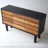 Vintage Teak & Black Chest Drawers 3
