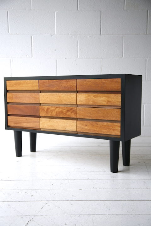Vintage Teak & Black Chest Drawers 4