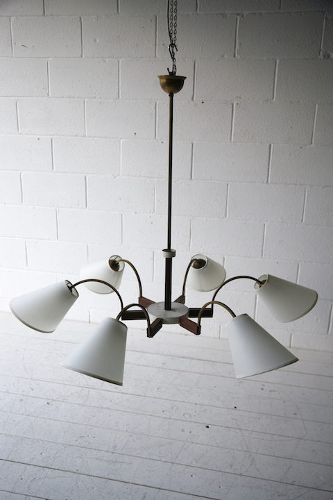 1950s French 6 Arm Ceiling Light 1