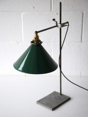 1950s Laboratory Lamp with Green Enamel Shade 4