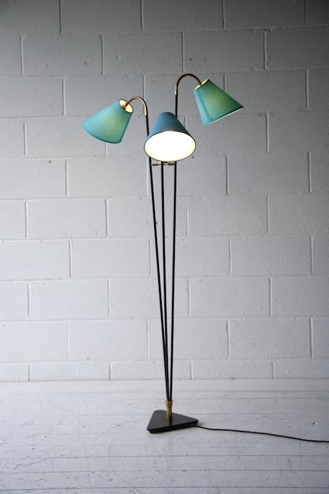 1950s Triple Floor Lamp Cream And Chrome