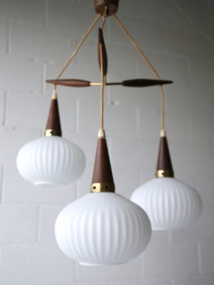 1960s Teak Glass Danish Pendant Light 1