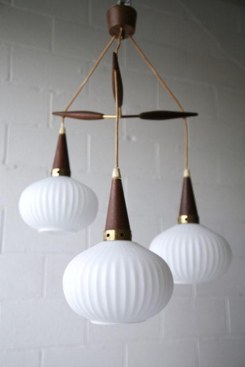 1960s Teak Glass Danish Pendant Light 1
