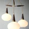 1960s Teak Glass Danish Pendant Light