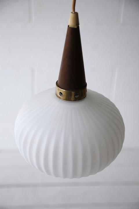 1960s Teak Glass Danish Pendant Light Cream And Chrome