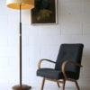 Art Deco Walnut Brass Floor Lamp 1