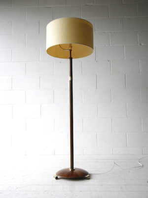 Art Deco Walnut Brass Floor Lamp 4