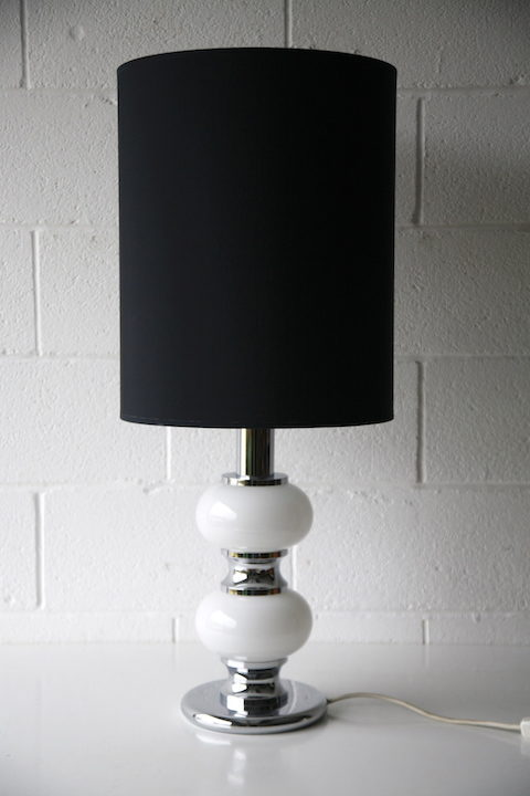 Large 1970s Chrome Glass Table Lamp