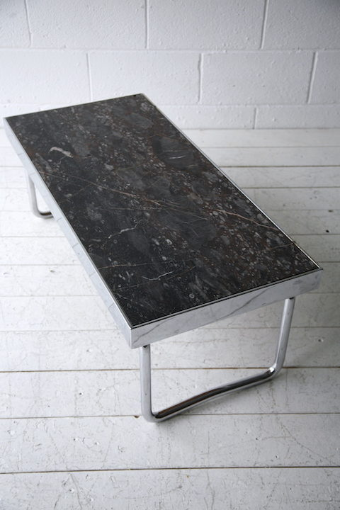 1970s Chrome Marble Coffee Table