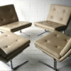 Cream Leather 1970s Chairs 1
