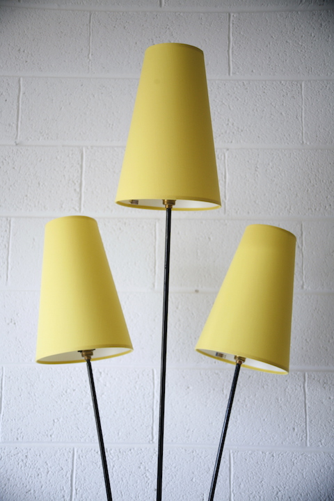 1950s Floor Lamp With Yellow Shades Cream And Chrome
