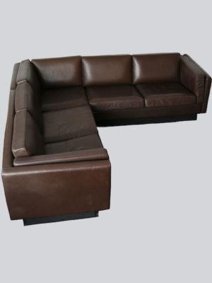 1970s Danish Leather Corner Sofa by Thams