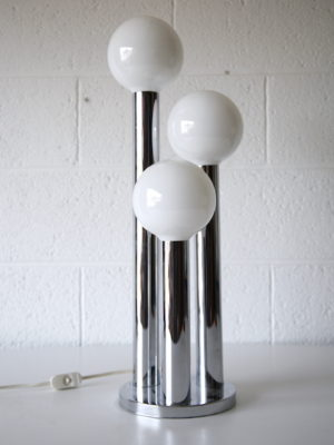 1970s Chrome Glass Table Lamp