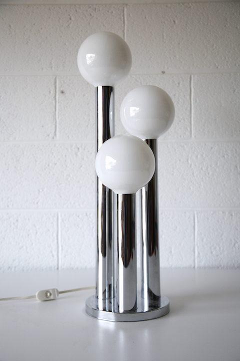 1970s Chrome Glass Table Lamp