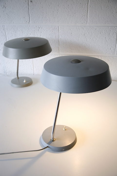 Pair 1950s Grey Desk Lamps 4