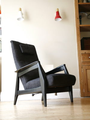 1950s Black Reclining Chair 2