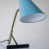 1950s Blue Brass Desk Lamp