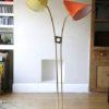 1950s Orange Yellow Brass Floor Lamp 3