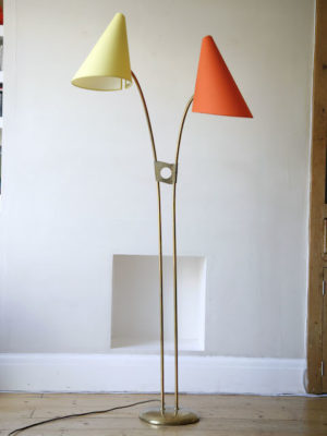 1950s Orange Yellow Brass Floor Lamp