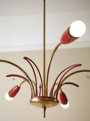 1950s Red Brass Ceiling Light 1