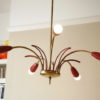 1950s Red Brass Ceiling Light