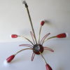 1950s Red Brass Ceiling Light 2