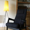 1950s Tripod Floor Lamp with Pleated Shade