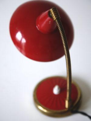 1950s Red Brass Desk Lamp 3