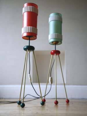 Pair 1950s Atomic German Floor Lamps 1