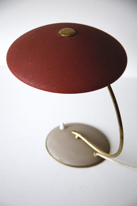 Vintage 1950s Red Brass Desk Lamp