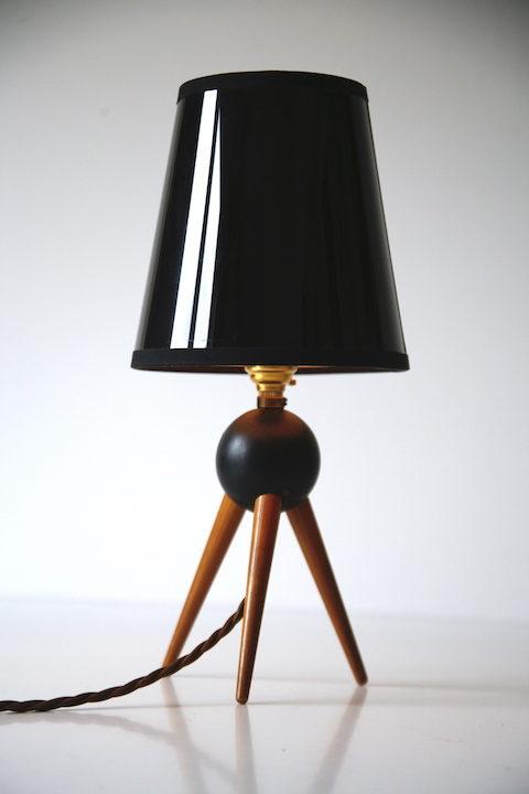 Vintage Teak Tripod Lamp