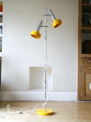1970s Chrome Yellow Double Floor Lamp