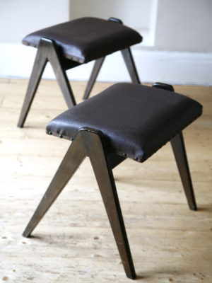 Pair 1950s Stacking Stools 2