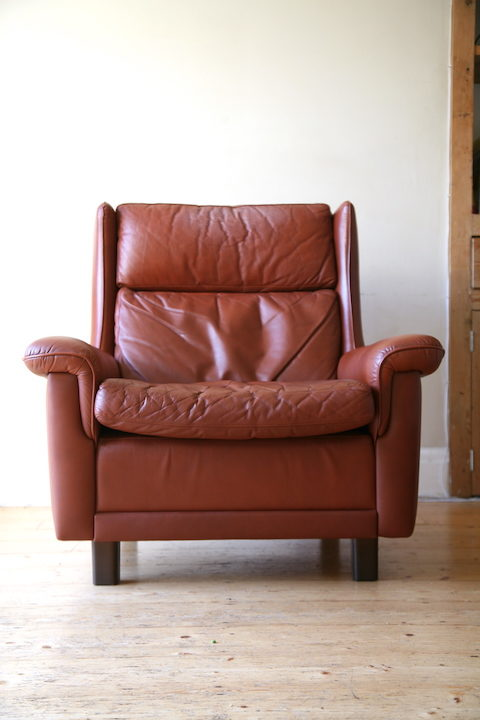 1960s Leather Chair by AB Nili Stoppmöbler Sweden