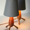 Pair 1950s Wooden Lamps 1