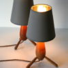 Pair 1950s Wooden Lamps 4