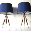 Pair 1960s Tripod Table Lamps 3