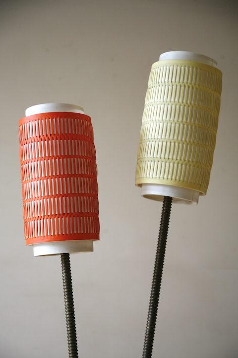 1950s Double Orange Yellow Floor Lamp