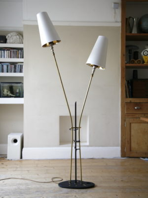 1950s French Double Floor Lamp