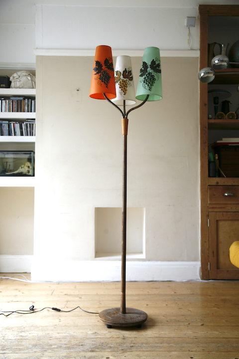 1950s Oak Triple Floor Lamp 6