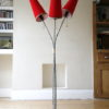 1950s Triple Red Floor Lamp