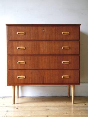 1960s Danish Teak & Walnut Chest of Drawers